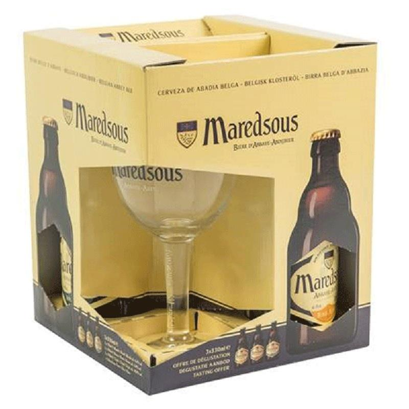 Maredsous Gift Pack 3x33cl + Glass
